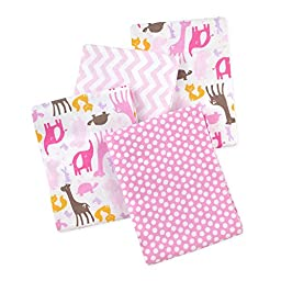 Carter\'s 4 Piece Flannel Receiving Blankets, Animals/Pink/White/Brown/Yellow