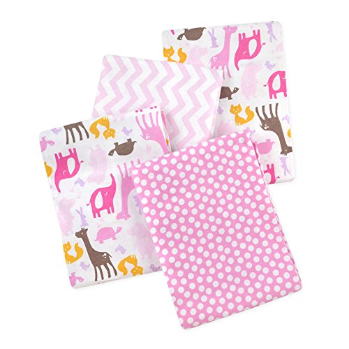 Carter's 4 Piece Flannel Receiving Blankets, Animals/Pink/White/Brown/Yellow