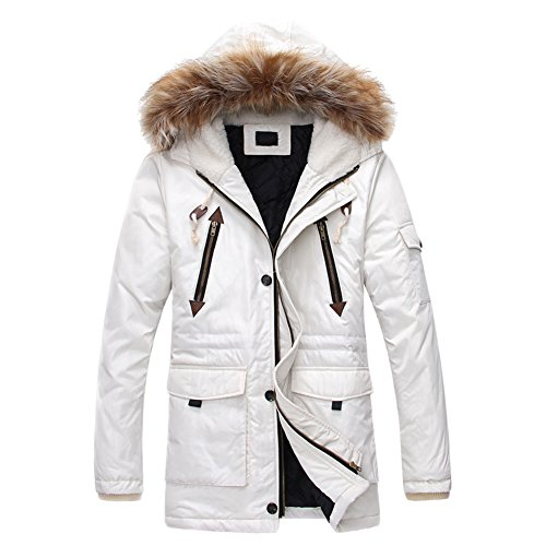 OCHENTA Men's Quilted Winter Coat Faux Lame Fur Collar Hood Jacket Parka White Asian Size XL - US Size M