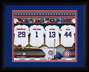 MLB Personalized Locker Room Print Black Frame Customized Chicago Cubs by You