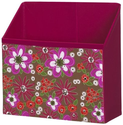 Ganz Just My Locker - Accessories Bin - White/Pink/Orange Flowers (Brown Background) - 1