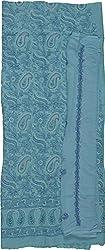 Knool Women's Cotton and Semi Chiffon Unstitched Salwar Suit (CCSEDM06LTBLU, Light Blue)