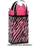 "Black & Clear ZEBRA Plastic Shopper Gift Bag 3 mil HD 5-1/4x3-1/4x8-1/2""- Quantity of 10"