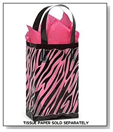 Black & Clear ZEBRA Plastic Shopper Gift Bag Quantity of 10