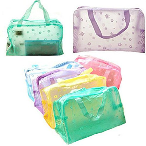 Cosmetic Bag Organizer Toiletry Bathing Storage Bag Waterproof Transparent Floral Travel Wash