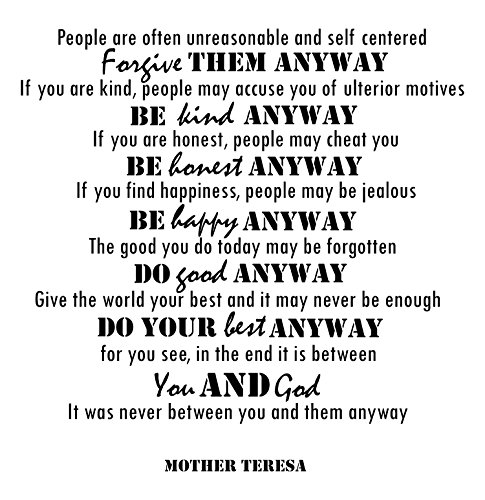 Mother Teresa Quotes Inspirational Wall Decals Vinyl Wall Art: A Wall Decal Inspiring Quotes - Famous Quotes Wall Decor - Wall Art Stickers Quote Decals - Best Removable Wall Decals Made in USA (Remove Pdf From Kindle compare prices)