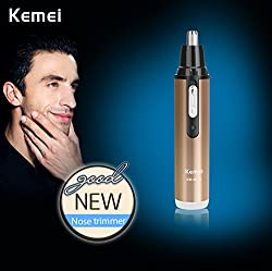 Kemei Km 6619 2 In 1 Electric Shaver With Nose & Ear Hair Trimmer Rechargeable Male Female Shaving Cut Nose Hair Scissors Washable Champagne