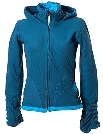 Vishes - Alternative Bekleidung - warme Damen Fleece Jacke mit Stehkragen und Zipfelkapuze dunkeltürkis 38/40
