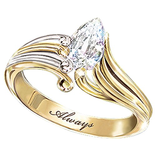 Always Crystal Teardrop Ring: Inspirational Bereavement Jewelry Gift - size 8