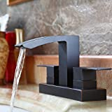 KES LEAD-FREE BRASS Two Handle Bathroom Waterfall Faucet with Drain Assembly Lavatory Vanity Sink Faucet 4-Inch Centerset, Oil Rubbed Bronze, L4101LF