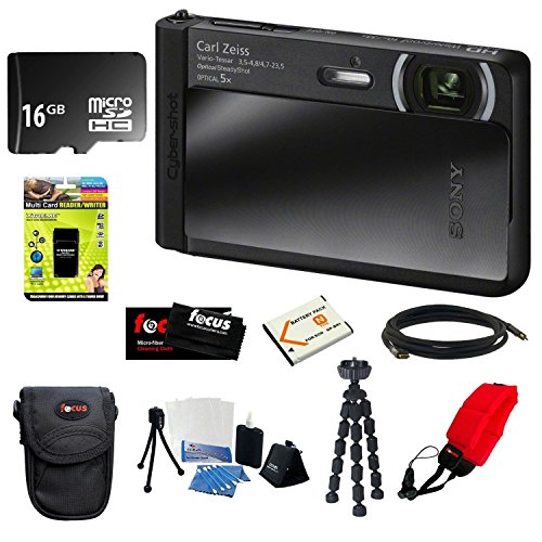 Sony Dsc-Tx30/B Dsctx30 Dsctx-30 18 Mp Digital Camera With 5X Optical Image Stabilized Zoom And 3.3-Inch Oled (Black) + 16Gb Memory Card + Multi Card Reader Writer + Np-Bn1 Battery F/ Sony + Sony Digital Camera Case + Accessory Kit