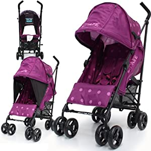 iSafe Media Viewing Buggy Stroller Pushchair - Plum Dots Complete With Raincover