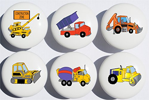 Construction Drawer Pulls / Construction Truck Ceramic Knobs , Set of 6 (Dump Truck Lamp compare prices)