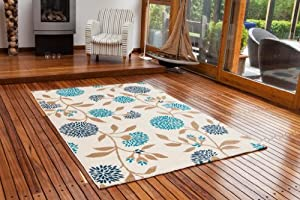 Bombay Blue & Cream Shabby Chic Style Floral Rug 9365 - 3 Size Available from The Rug House