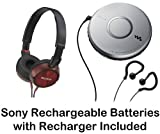 Sony Walkman Portable Skip-Free CD Player with Clip Style Earbud Headphones LCD Display Digital Mega Bass Sound AVLS Pressure Relieving Studio Monitor Headphones (Red) & Sony Rechargeable Batteries with Recharger