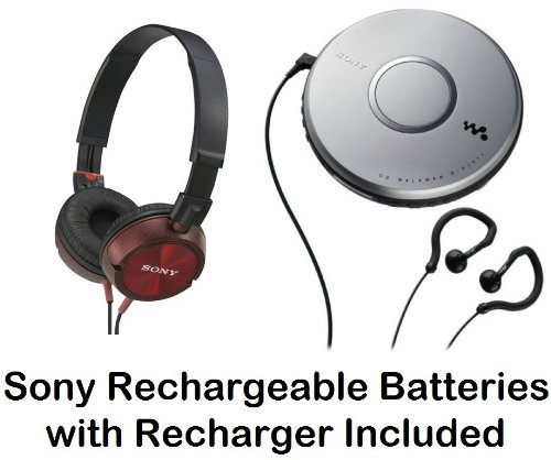 Sony Walkman Portable Skip-Free Cd Player With Clip Style Earbud Headphones, Lcd Display, Digital Mega Bass Sound, Avls, Pressure Relieving Studio Monitor Headphones (Red) & Sony Rechargeable Batteries With Recharger