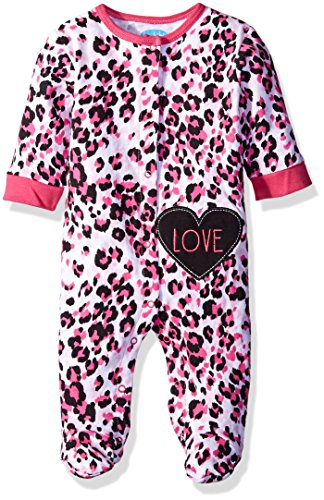 BON BEBE Girls' Footed Snap Front Coverall with Applique, Pink Leopard, 3-6 Months