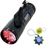 "HQRP 9 LEDs Red Light Flashlight for Night Astronomy Viewings or ""Star Party"" / Night-Time Astronomy / Astronomy Hobby / Aviation / Night Vision plus HQRP UV Meter"