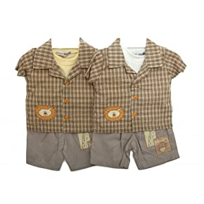 Baby Boy 3 Piece Animal Design Shirt, T-Shirt and Shorts Baby Clothing Set