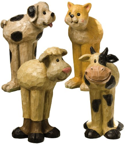 Evergreen 841423 Garden Sculpture, Long-legged Cat, Cow, Dog, and Sheep(Assorted)