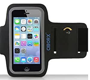 Apple iPod Touch 5, iPhone 5/5s/5c Armband for Running - Smart Cell Phone Holder with Key Holder - Guaranteed Lightweight Soft, Durable and Sweat Proof Sport Running Arm Band - Easy to Operate - Order Comes With One Screen Protector and eBook FREE.