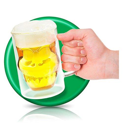 8x boccale-bicchiere da birra boccale da birra Skull bicchiere da birra in vetro TESCHIO birra vetro teschio 13cm