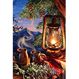 Morning Coffee Outdoor House Flag Cabin Wildlife Lake Lantern Mountains 29