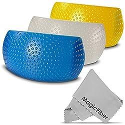 Hot-Shoe Flash Diffuser Set for DSLR Cameras (CANON, NIKON, PENTAX, OLYMPUS, PANASONIC, LEICA) + Premium MagicFiber Microfiber Lens Cleaning Cloth