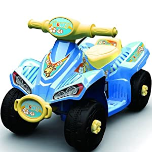 kids 6v Honey Electric Ride on Junior Quad Bike For Ages 2+ in Blue.