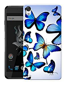 "Humor Gang Butterflies In Blue Printed Designer Mobile Back Cover For ""OnePlus X"" (3D, Matte, Premium Quality Snap On Case)"