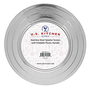 """U.S. Kitchen Supply 12"""" Stainless Steel Fine Mesh Splatter Screen with Non-Slip Folding Handle - 8"""", 9.5"""" & 11"""" Size Pot & Pan Rings - Grease Oil Guard for Safe Cooking"""