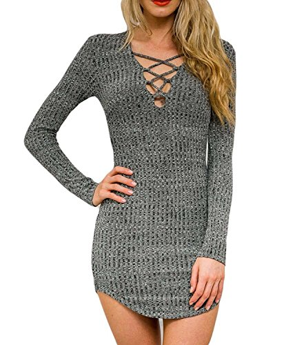 Dreagal Women Gray V Neck Long Sleeve Bodycon Mini Sweater Dress Top, Style1-Grey, Medium