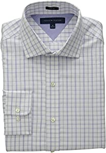 Tommy Hilfiger Men's Slim Fit Blue Check, Blue/Multi, 15 32/33