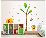 Sumlake Nursery Cartoon Winnie The Pooh Honey Tree Sleeping Wall Art Stickers Decal for Home Room Decor Decoration
