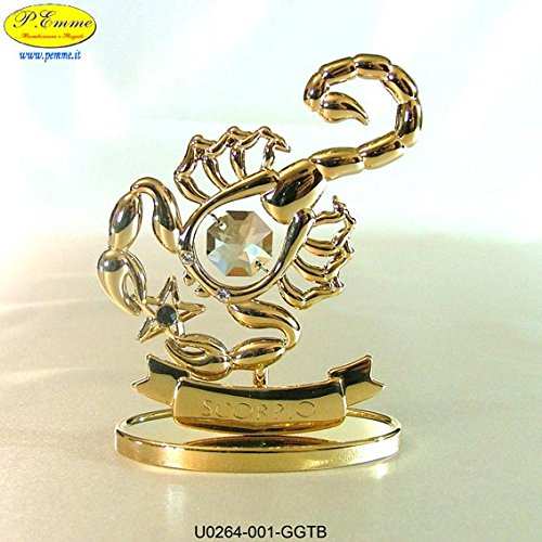 SEGNO ZODIACALE SCORPIONE GOLD CRYSTOCRAFT SWAROVSKI ELEMENTS - 24K GOLD PLATED