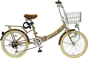 TOPONE 20インチ 折りたたみ自転車 カゴ・カギ・ライト付き シマノ6段変速ギア ココア FDU206-28-CO