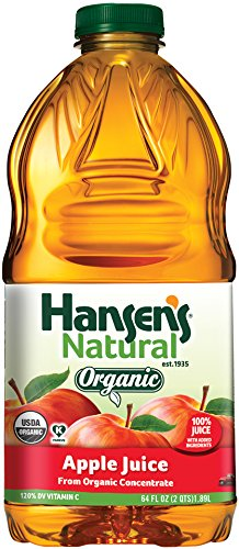 Hansen's Natural 100% Juice Bottles, Organic Apple, 64 Ounce (Pack of 8) (Carrot Beet Juice compare prices)