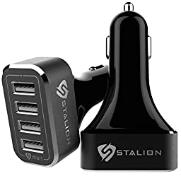 Stalion 4 USB Port 9.6 Amps Car Charger Adapter for Smartphones, Tablets, GPS Devices and MP3 Players - Jet Black