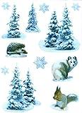 Fenstersticker Set 12-tlg. selbstklebend Huskie Hund Tannen Schnee Igel Eichhörnchen