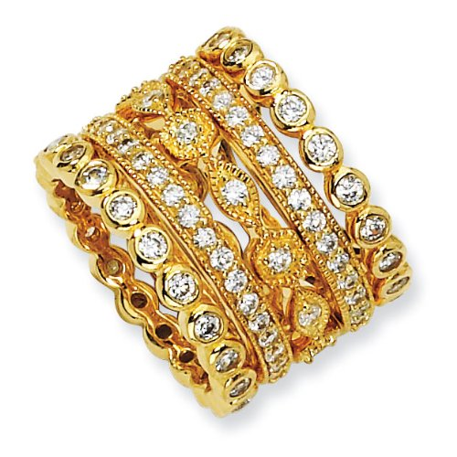 Sterling Silver CZ Eternity Five Ring Set - Size 6 - JewelryWeb