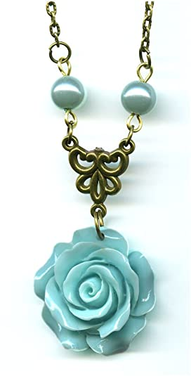 Moon Pixie rose flower pendant necklace for mother's day