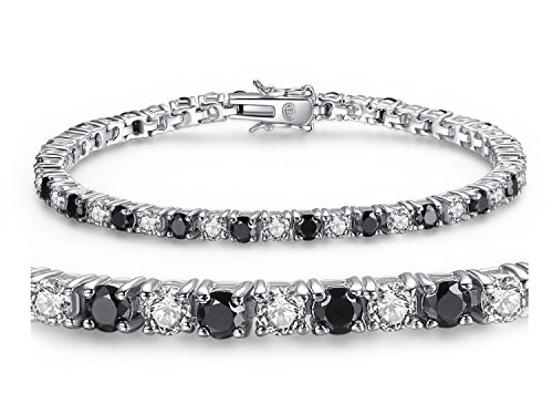 Sterling Silver 22.56ct Round Shape Black & White Cubic Zirconia Tennis Gemstone Bracelet 7.5