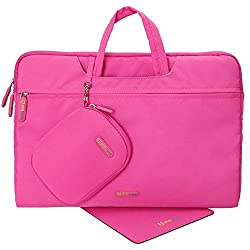 Evecase 15- 15.6-inch Nylon Fiber Waterproof Universal Carrying Briefcase Bag with Handles + Acessories Bag + Mouse Pad for Notebook, Chromebook, Macbook, laptop and Ultrabooks - Hot Pink