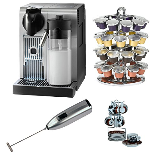 Delonghi America En750Mb Nespresso Lattissima Pro Machine With Coffee Carousel, Espresso Cup And Saucer Set, And Knox Handheld Milk Frother