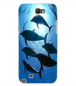 ColourCraft Dolphins Design Back Case Cover for SAMSUNG GALAXY NOTE 2 N7100