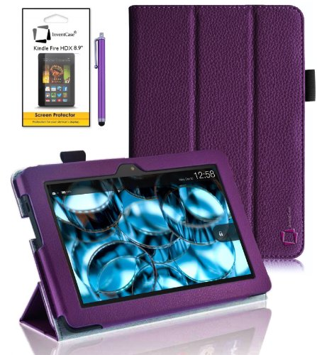 "New Amazon Kindle Fire HDX 8.9 inch 8.9"" 2013 (ALL Model Versions - 16GB, 32GB & 64GB Wi-Fi + 4G LTE) PURPLE Multi-Function Leather SMART FOLIO Front & Back Case / Smart Cover / Typing & Viewing Stand"