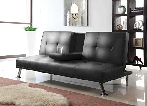 Great Deal! Merax Modern Convertible Pu Leather Futon Sofa Bed Couch , Black