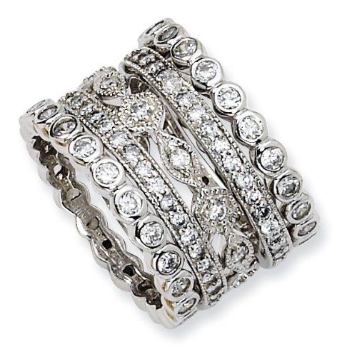 Gold-plated Sterling Silver CZ Eternity Five Ring Set - Size 6 - JewelryWeb