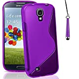 Mobile-Heaven Samsung Galaxy S4 Case Premium Gel S-Line Silicone Protective Cover for Samsung Galaxy S4 i9500 Case Includes Screen Protector with Microfibre Cleaning Cloth + Touch Stylus Pen (Purple)