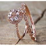 Zhiwen Fashion Elegant Women 18K Rose Gold Filled Morganite Pink Gemstone Wedding Bridal Ring Set(Size 6-10) (US Code 6) (Color: Rose gold, Tamaño: US code 6)